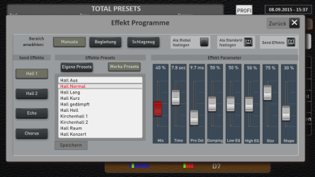 Reverb settings control console and adjustments for the effect parameters