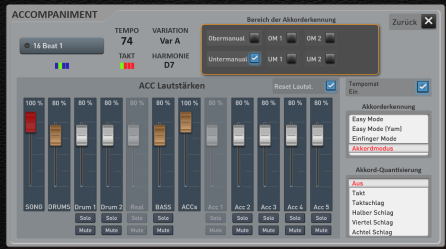 Easy Mode: Volume mixer and Wersi chord preference