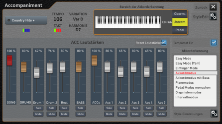 Here you can set the volumes for each auto accompaniment part and choose your chord fingering preference for the accompaniment