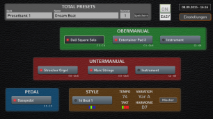 For all 2 manual organs. This display is in Easy Mode which only allows up to 3 voices for each manual and 1 voice for the pedals. In professional mode up to 15 voices can be shared between manuals with a maximum of 8 voices per manual and 4 voices for the pedals