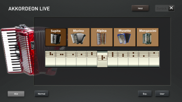 The accordion live preset registrations