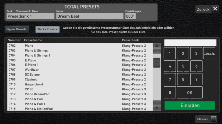 In Professional Mode showing the preset registration library option that can be selected by registration number
