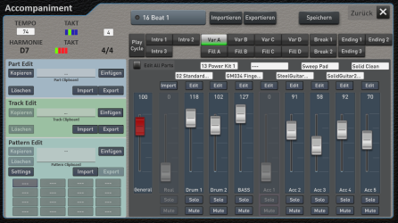 Auto Accompaniment control panel: Here you can add, edit or change the instruments used in the factory auto accompaniment section. These can then be saved as user presets.