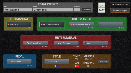 The Pergamon 3 manual flag ship organ in Easy Mode allows only 1 voice for the solo manual and up to 3 voices for the upper and lower manual and 1 voice for the pedals