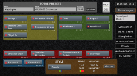 The Pergamon 3 manual flagship organ in Professional Mode displaying the instruments selected for each manual