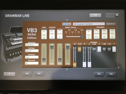This is the on screen display for the virtual Hammond Organ. This program interfaces with the organs drawbars on the right hand side of the organ. Various settings can also be be changed here on the touch screen.