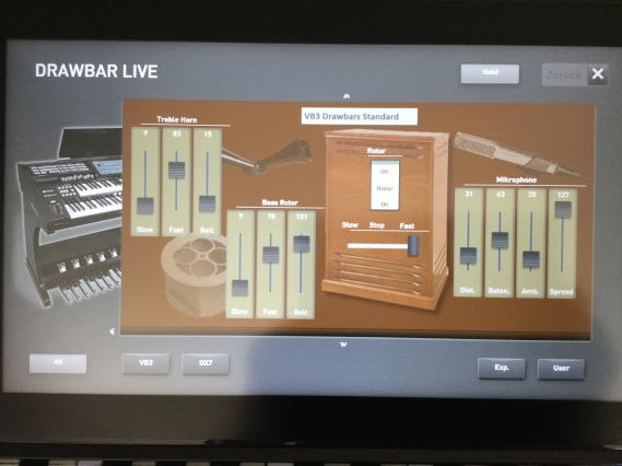Swipe the page and you have the virtual Hammond Leslie unit where leslie speed, belt slip and mic settings can be changed with the touch screen.