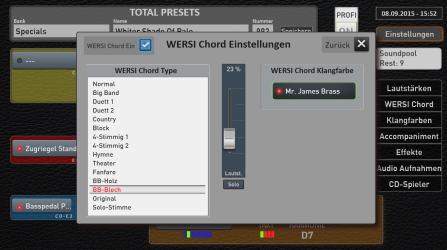 Wersi Chord types. When selected you get full chord harmonies when playing single finger notes on the upper manual
